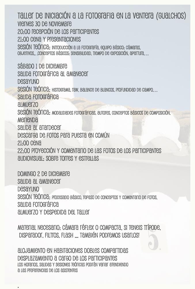 Programa Taller de fotografía en La Ventera